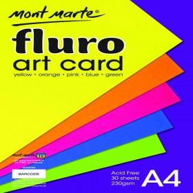 MONT MARTE Fluro Art Card Pack 5 cols 230gsm 30pc A4