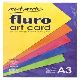 MONT MARTE Fluro Art Card Pack 5 cols 230gsm 15pc A3