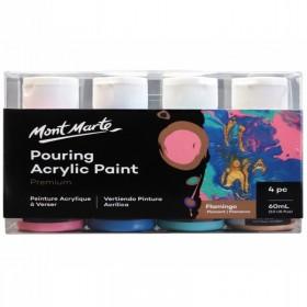 MONT MARTE Pouring Acrylic 60ml 4pc - Flamingo