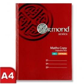 ORMOND A4 128 PG HARD COVER MATHS COPY