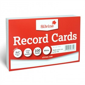 """RECORD CARDS WHITE RULED 8""""X5"""" 204X127MM"""