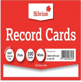 "RECORD CARDS PLAIN WHITE 6""X4"" 152X101MM"