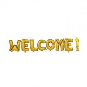 WELCOME! Letter Balloons, Gold Alphabet Foil Mylar Balloons for Welcome Party Decoration supply