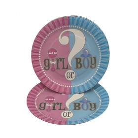 Unique Circle Gender Reveal Baby Shower Plate 10-Pieces, 7-Inch Size, multicolor