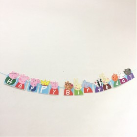 1set Happy Birthday Banner Peppa Pig Hanging Garlands Bunting Banners Pastel Pigs String Flags Birthday Party Decoration