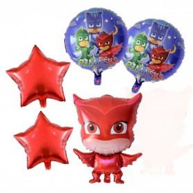 Red Owlette  PJ Masks Foil Balloons Bouquet Perfect for Birthday Party 5PCS/SET