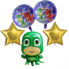 Green Geeko PJ Masks Foil Balloons Bouquet Perfect for Birthday Party 5PCS/SET