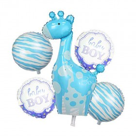 Mcolour Balloons for Baby Shower to Welcome Baby - Pack of 5 Pieces Foil Helium Balloon/ Party Props (Large) (It's a Boy-Giraffe)