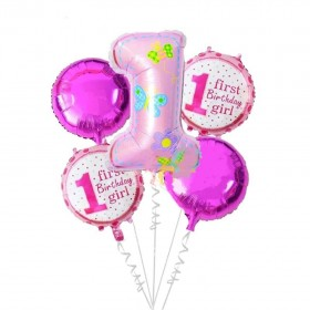 Mcolour Balloons 5 pcs Baby shower Pink Number 1 year foil balloon 1st round Helium Globos birthday party decor supplies Pure color balloons