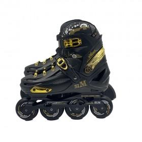 Mogema SLM-S6 in-line roller skates Black and Golden (SIZE EURO 35-39 , US 2-6 Black WHEELS)