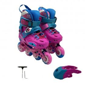 Kakala Kids Skate Beginners Full Flash Set Roller Skating Pink and Blue Size Euro 35-38