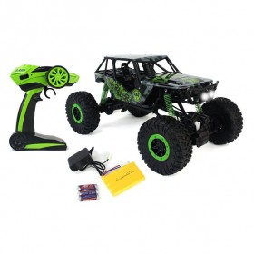 Remote Control Crazy SUV Rock Crawler 4WD Green Toy Car Rally RC 2.4 GHz 1:10 Scale Size w/ Working Suspension