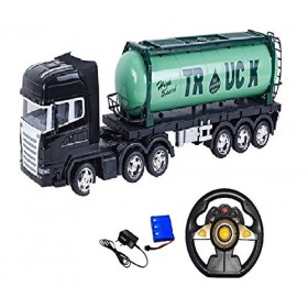 Remote Control Oil Tanker Truck Water Container 12 Wheel Big Size 24 Inches Long R/C Truck Toy for Kids (Green)