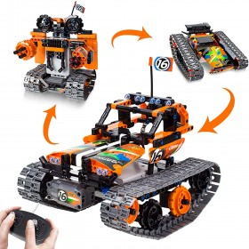 3-in-1 STEM Remote Control Building Kits-Tracked Car/Robot/Tank, 2.4Ghz Rechargeable RC Racer Toy Set Gift for 8-12,14 Year Old Boys and Girls, Best Engineering Science Learning Kit for Kids