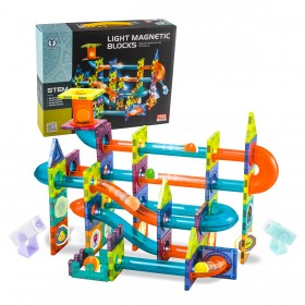 Classic Magnetic Building Blocks Marble Run Ball Magnetic Tiles Track With light Ball Magnetic Building Pipes Tiles