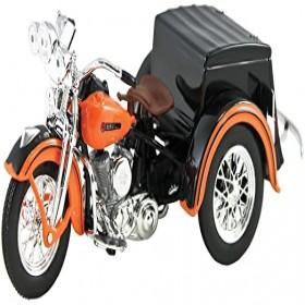 Maisto 3179 1947 Harley Davidson Servi-Car Black with Orange HD Custom Motorcycle Model 118 Diecast Model