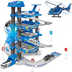 Garage Toy Set, Toy Vehicle Garage for Toddlers, Race Car Ramp Track Toy, Parking Garage Playset Toy with Play Mat(Blue)