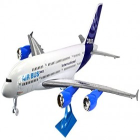 """Dragon Air Bus 3802 Big Size 26"""" Battery Operated Bump and Go Toy Plane w/ Flashing Lights, Sounds, Plane Stand"""