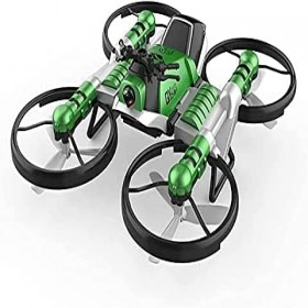 Remote Control Drone Simulation Model Toy with HD Camear 2.4g Deformation Motorcycle Folding Four-axis Aircraft Two-in-one Remote Control Aircraft (Green)
