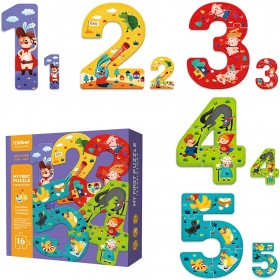 My First Puzzle Toddler Jigsaw for Children with Large Extra Thick Pieces for Kids Illustrated Animal and Fairy Tale Number Shapes 2 3 + Years - 12345! Story