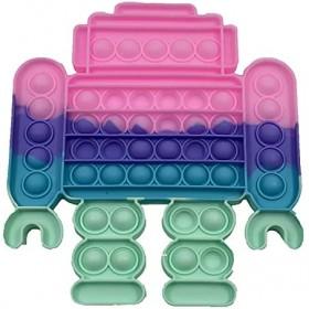 Silicone Rainbow Macaron Robot Funny Push Bubble Sensory Squeezing Toy Anti-stress Relaxing Fidget Autism Toys Stress Relieve
