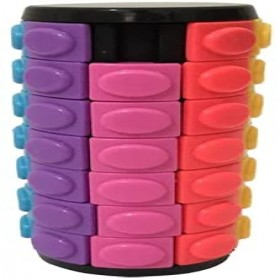 3D Rotate Slide Stress Cylinder Cube Kids Puzzle Toy Slider Toy Cube Colorful Cylinder Sliding Puzzle Sensory Puzzle Toy (Color : 7 Layers)