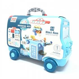 2 IN 1 Pretend Play Medical Kit Mobile 36 Pcs Cartoon Bus