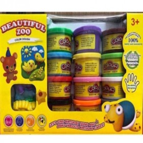 Beautiful Zoo Clay Dough Play Set 12 in 1 Colorful Mini Clays Set w/ Molding Tools Play Set Toy Imported Quality Children Kids Toy Gift ToyMart Toys Play Set Simulation Toy